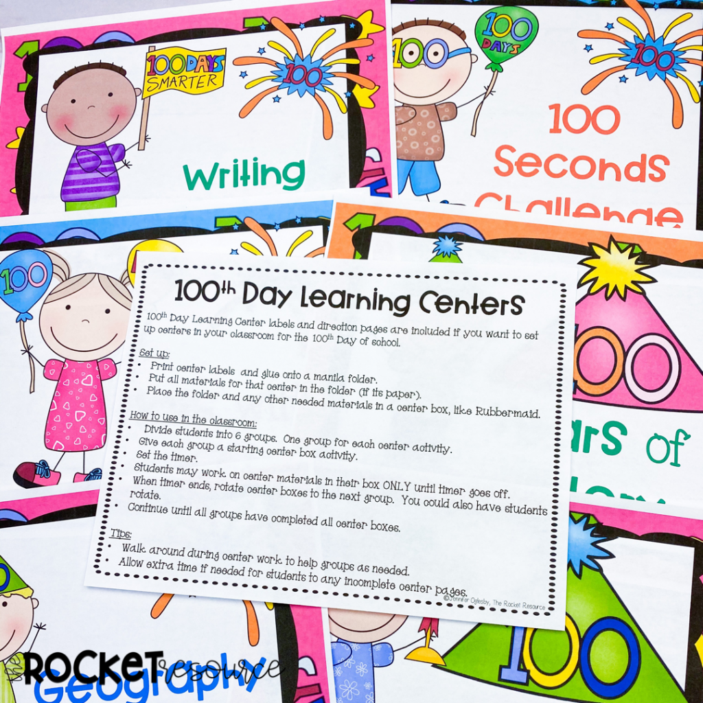 100th Day learning centers for upper elementary