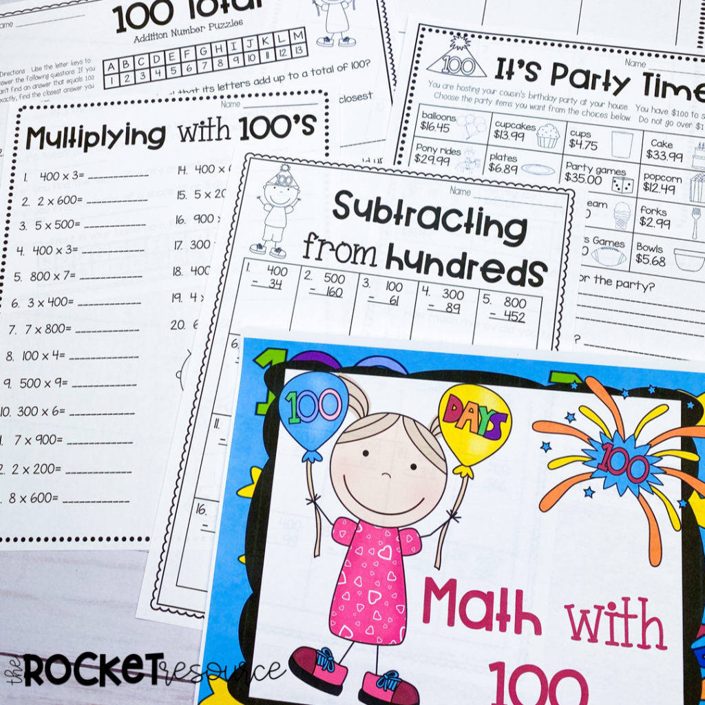 100th day math activities for upper elementary