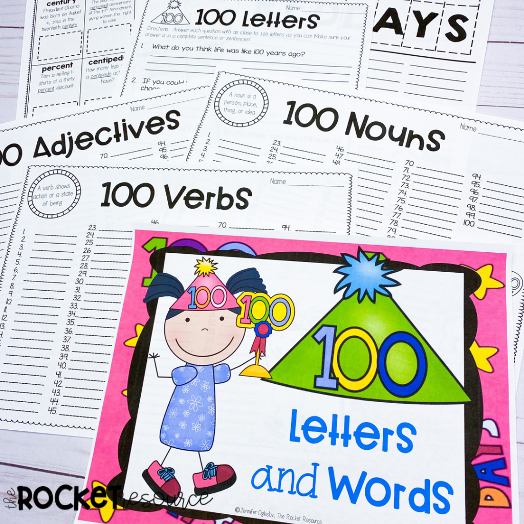 100th day language activities for upper elementary