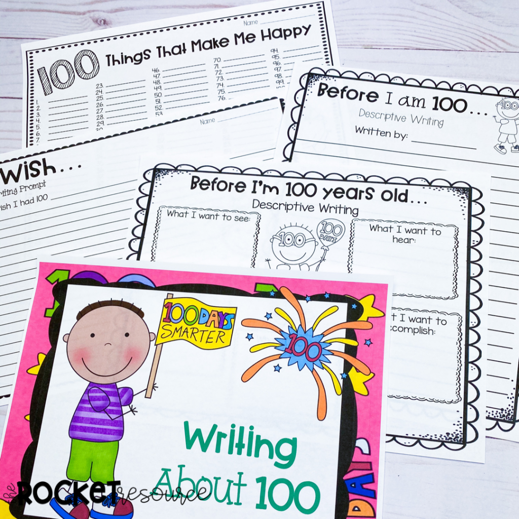 100th Day writing activities for upper elementary